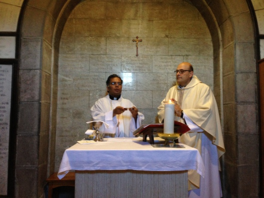 My husband and Father Don Luca celebrating Mass.