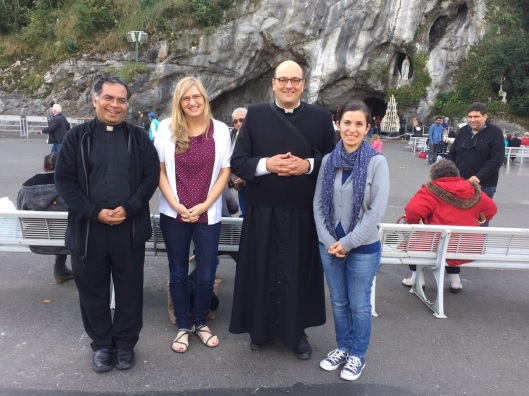 My husband, Bishop Leo Michael, Me, Father Don Luca, and his wife, Elisa Amati at the Our Lady of Lourdes Grotto